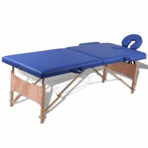 Κρεβάτι μασάζ Πτυσσόμενο 2 θέσεων με ξύλινο σκελετό Μπλε