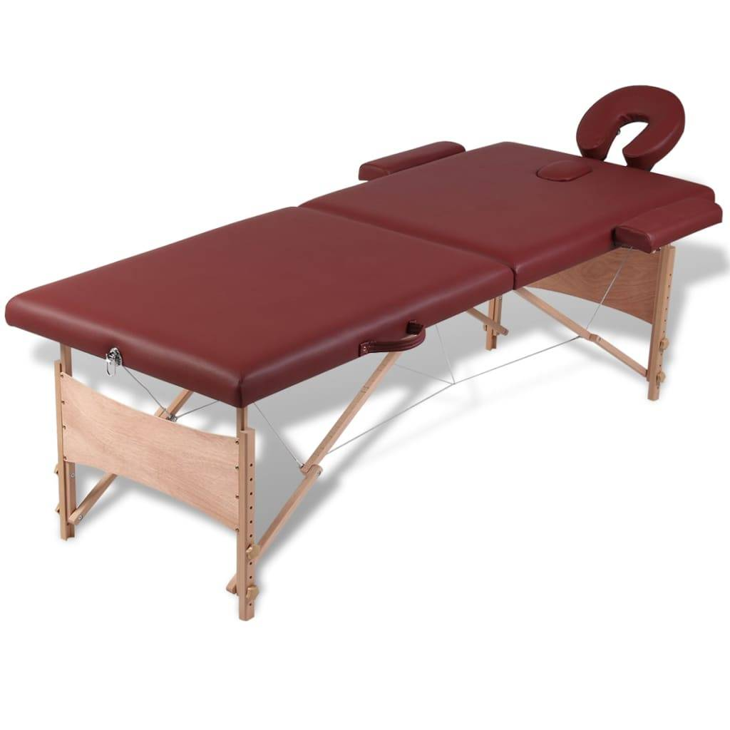 Κρεβάτι μασάζ Πτυσσόμενο 2 θέσεων με ξύλινο σκελετό Κόκκινο