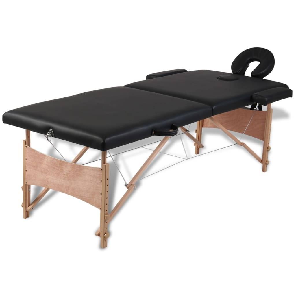 Κρεβάτι μασάζ Πτυσσόμενο 2 θέσεων με ξύλινο σκελετό Μαύρο