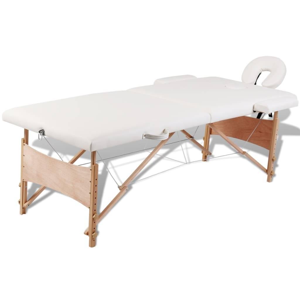 Κρεβάτι μασάζ Πτυσσόμενο 2 θέσεων με ξύλινο σκελετό Κρεμ