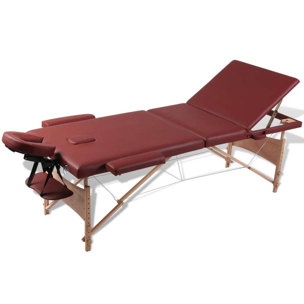 Κρεβάτι μασάζ Πτυσσόμενο 3 θέσεων με ξύλινο σκελετό Κόκκινο