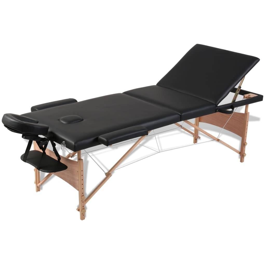 Κρεβάτι μασάζ Πτυσσόμενο 3 θέσεων με ξύλινο σκελετό Μαύρο