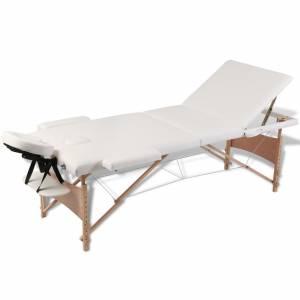 Κρεβάτι μασάζ Πτυσσόμενο 3 θέσεων με ξύλινο σκελετό Κρεμ
