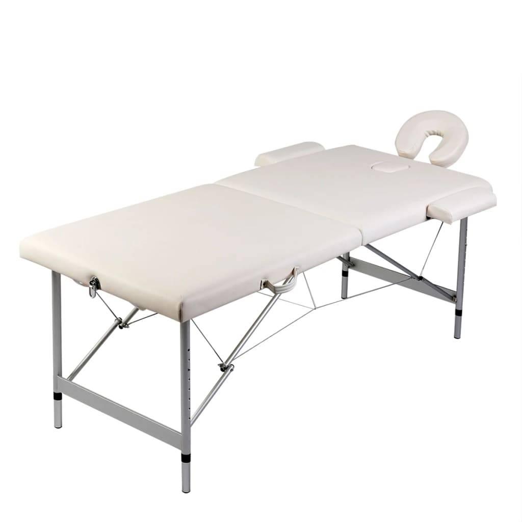 Κρεβάτι μασάζ Πτυσσόμενο 2 θέσεων με σκελετό αλουμινίου Κρεμ