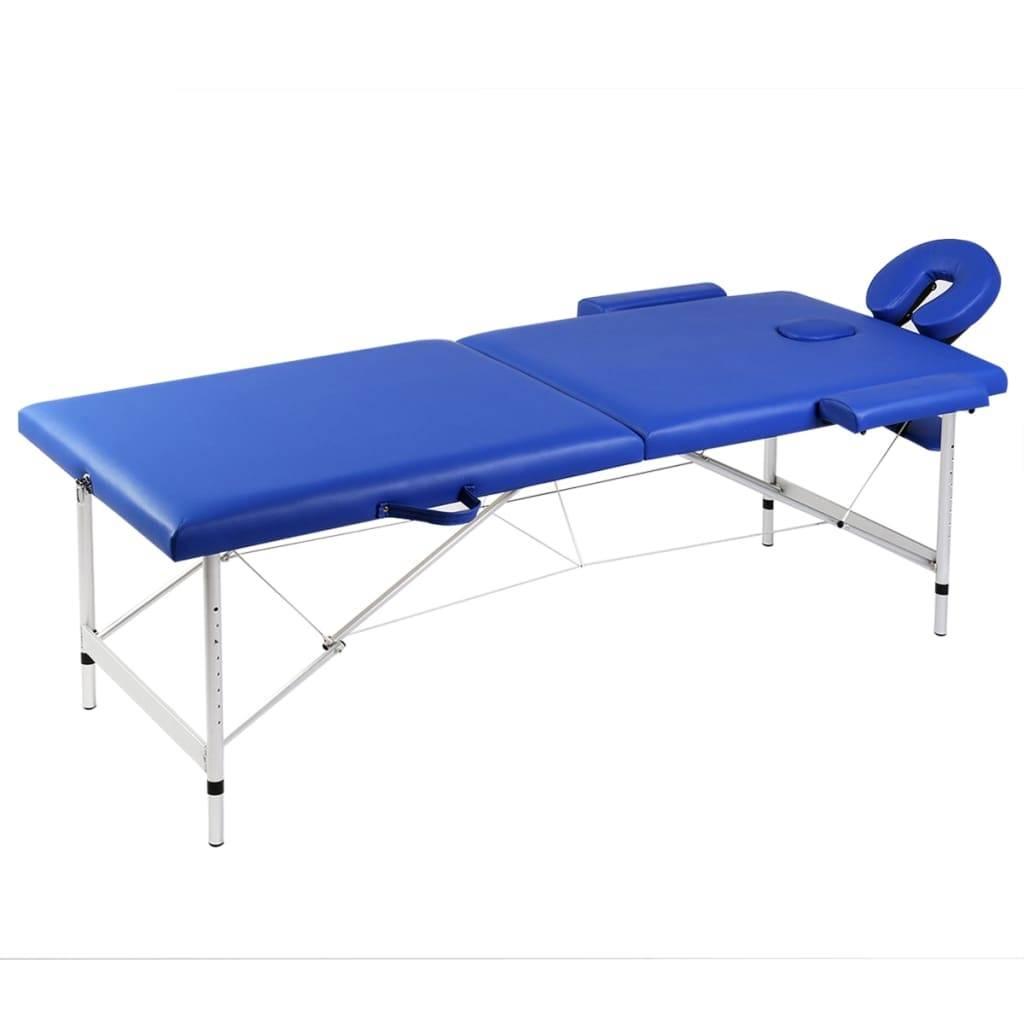 Κρεβάτι μασάζ Πτυσσόμενο 2 θέσεων με σκελετό αλουμινίου Μπλε