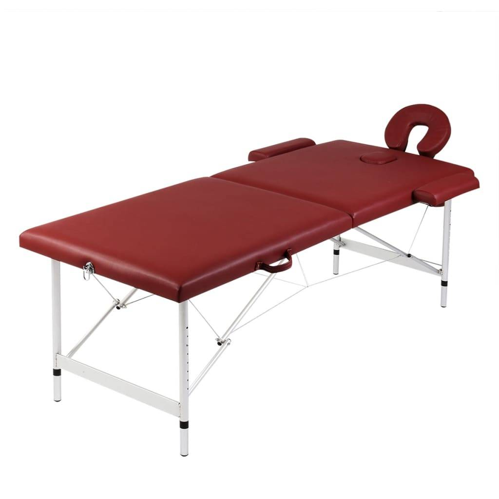 Κρεβάτι μασάζ Πτυσσόμενο 2 θέσεων Αλουμινίου Κόκκινο