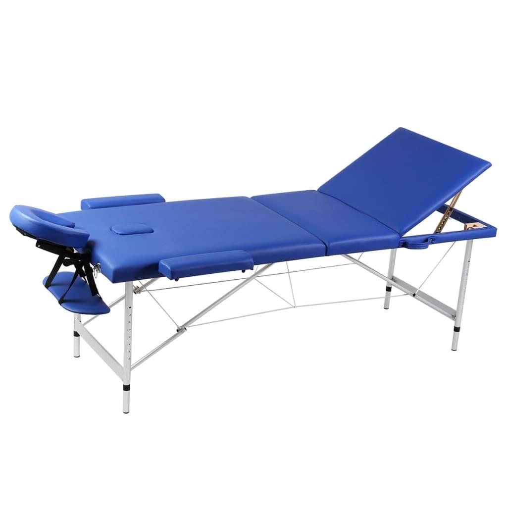 Κρεβάτι μασάζ Πτυσσόμενο 3 θέσεων Αλουμινίου Μπλε