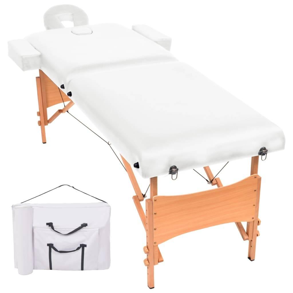 Κρεβάτι Μασάζ 2 Θέσεων Πτυσσόμενο Λευκό με Πάχος 10 εκ.