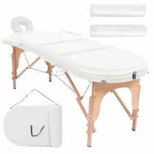 Κρεβάτι Μασάζ Πτυσσόμενο Οβάλ Λευκό Πάχος 10 εκ. & 2 Μαξιλάρια