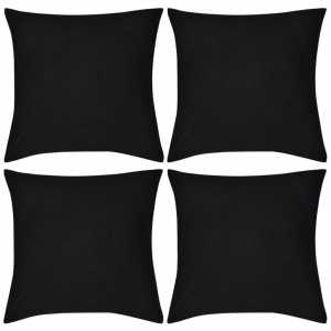 Καλύμματα Μαξιλαριών 4 τεμ. Μαύρα 50 x 50 εκ. Βαμβακερά