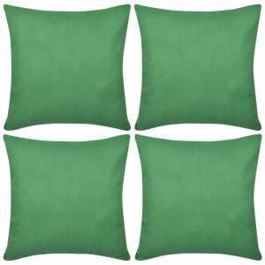 Καλύμματα Μαξιλαριών 4 τεμ. Πράσινα 80 x 80 εκ. Βαμβακερά