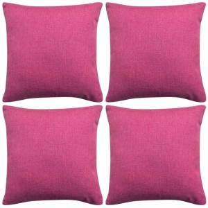 Καλύμματα Μαξιλαριών με Λινό Σχέδιο 4 τεμ. Ροζ 80 x 80 εκ.