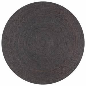 Χαλί Χειροποίητο Στρογγυλό Σκούρο Γκρι 90 εκ. από Γιούτα