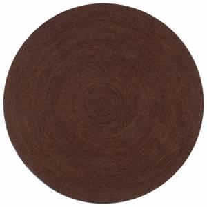 Χαλί Χειροποίητο Στρογγυλό Καφέ 120 εκ. από Γιούτα