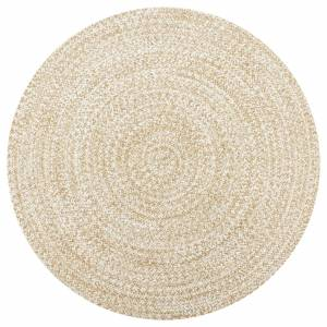 Χαλί Χειροποίητο Λευκό και Φυσικό Χρώμα 120 εκ. από Γιούτα