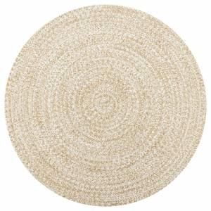 Χαλί Χειροποίητο Λευκό και Φυσικό Χρώμα 150 εκ. από Γιούτα