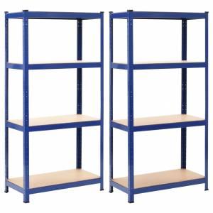 Ραφιέρες 2 τεμ. Μπλε 80 x 40 x 160 εκ. από Ατσάλι και MDF