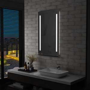 Καθρέφτης Μπάνιου Τοίχου με LED & Ράφι 60 x 100 εκ.