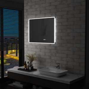 Καθρέφτης Μπάνιου με LED Διακόπτη Αφής και Ρολόι 80x60 εκ.