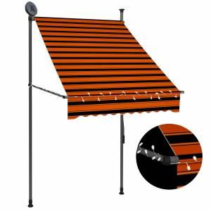 Τέντα Συρόμενη Χειροκίνητη με LED Πορτοκαλί / Καφέ 100 εκ.