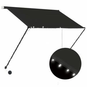 Τέντα Συρόμενη με LED Ανθρακί 150 x 150 εκ.