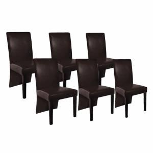 Καρέκλες Τραπεζαρίας 6 τεμ. Σκούρο Καφέ από Συνθετικό Δέρμα