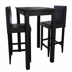 Τραπέζι Μπαρ με 2 Καρέκλες Μπαρ Μαύρο