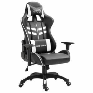 Καρέκλα Gaming Λευκή από Συνθετικό Δέρμα