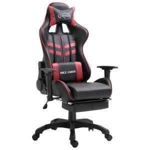 Καρέκλα Gaming με Υποπόδιο Μπορντό από Συνθετικό Δέρμα