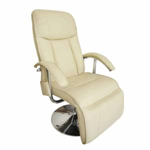 Πολυθρόνα Μασάζ Λευκό Κρεμ από Συνθετικό Δέρμα