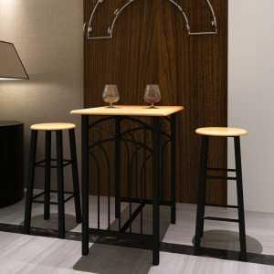 Σετ Ψηλό Τραπέζι με 2 Σκαμπό Μαύρο Ατσάλι Ανοιχτόχρωμο Ξύλο