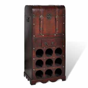 Ραφιέρα Κρασιών για 9 Μπουκάλια με Μπαούλο και Συρτάρι Ξύλινη