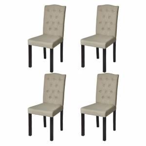 Καρέκλες Τραπεζαρίας 4 τεμ. Μπεζ Υφασμάτινες