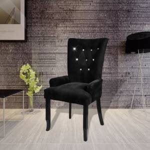 Πολυθρόνα Μαύρη Βελουτέ με Ξύλινο Σκελετό