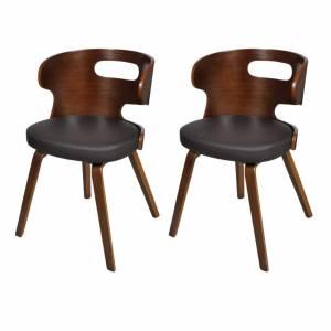 Καρέκλες Τραπεζαρίας 2 τεμ. Καφέ από Συνθετικό Δέρμα