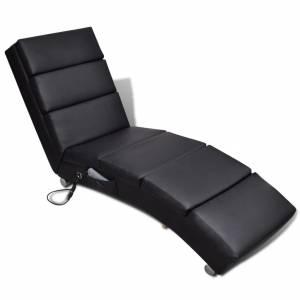 Πολυθρόνα Μασάζ Ανακλινόμενη Μαύρη από Συνθετικό Δέρμα
