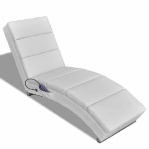 Πολυθρόνα Μασάζ Ανακλινόμενη Λευκή από Συνθετικό Δέρμα
