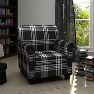 Πολυθρόνα Σαλονιού με Μαξιλάρι Καθίσματος Μαύρη Υφασμάτινη