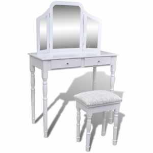 Μπουντουάρ με Τριπλό Καθρέφτη και 2 Συρτάρια Λευκό με Σκαμπό