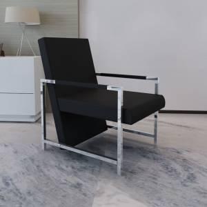 Πολυθρόνα Μαύρη από Συνθετικό Δέρμα με Πόδια Χρωμίου