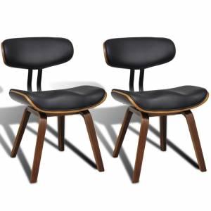 Καρέκλες Τραπεζαρίας 2 τεμ. από Λυγισμένο Ξύλο/Συνθετικό Δέρμα