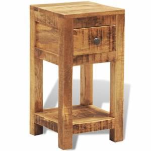 Κομοδίνο / Βοηθητικό Τραπέζι με 1 Συρτάρι από Μασίφ Ξύλο Μάνγκο