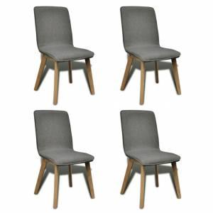 Καρέκλες Τραπεζαρίας 4 τεμ Ανοιχτό Γκρι Ύφασμα/Μασίφ Ξύλο Δρυός