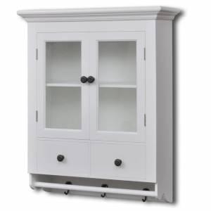 Ντουλάπι Κουζίνας Επιτοίχιο Λευκό Ξύλινο με Γυάλινη Πόρτα