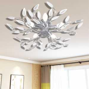 Φωτιστικό Οροφής με Βραχίονες Φύλλων Διάφανο & Λευκό για 5 Λάμπες E14