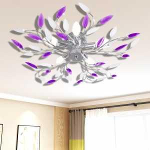 Φωτιστικό Οροφής με Βραχίονες Φύλλων Μωβ & Λευκό 5 Λαμπτήρες E14
