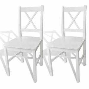 Καρέκλες Τραπεζαρίας 2 τεμ. Λευκές από Ξύλο Πεύκου