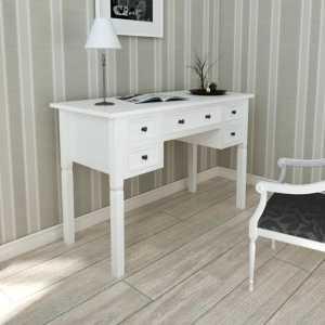 Γραφείο με 5 Συρτάρια Λευκό