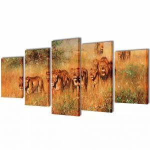 Πίνακας σε Καμβά Σετ Λιοντάρια 100 x 50 εκ.
