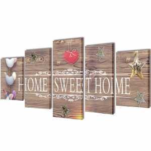 Πίνακας σε Καμβά Σετ Σχέδιο Home Sweet Home 100 x 50 εκ.